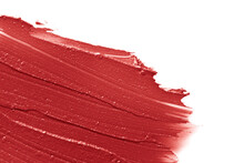 Lipstick Smear Smudge Isolated On White Background. Red Brown Makeup Brushstrokes Border. Lipstick Texture