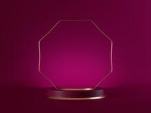 3d Render, Abstract Pink Modern Minimal Background. Cylinder Podium, Vacant Pedestal, Empty Stage, Showcase Stand, Product Display Platform Blank Mockup, Polygonal Frame. Premium Advertisement Design