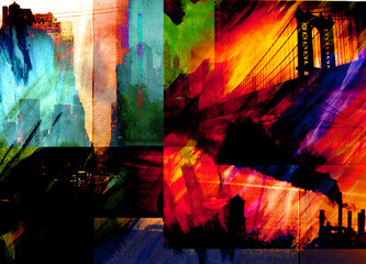Surreal modern art. Manhattan bridge. 3D rendering