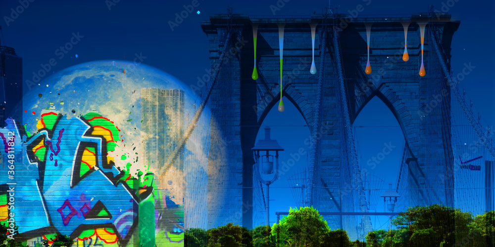 Surreal digital art. Brooklyn bridge on New York's cityscape. Giant moon, pieces of graffiti and paint drops. 3D rendering
