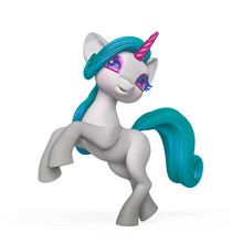 Unicorn Cartoon Is Prancing In White Background