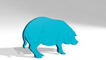 PIG On The Wall. 3D Illustrati...