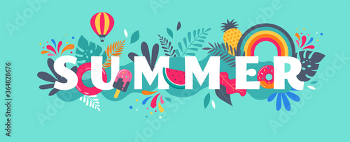 Summer sale banner template. Vector background Canvas