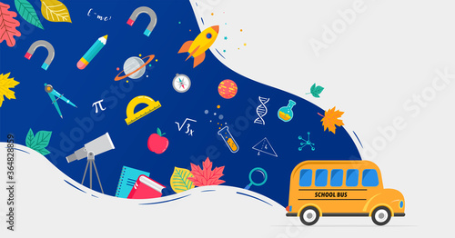 School bus, back to school concept illustration with icons of supplies and books Fototapet