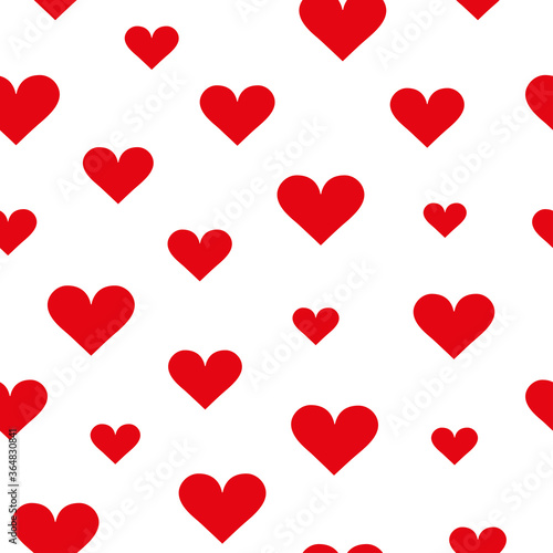 Foto Red heart pattern on white background