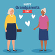 Grandmothers with hearts on grandparents day design, Old woman female person mother grandparents family senior and people theme Vector illustration