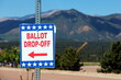 Leinwandbild Motiv Colorado Springs, CO, USA - June 24, 2020: Ballot Box for Colorado State Primary Election - All Mail-In Voting - Pikes Peak in the Background