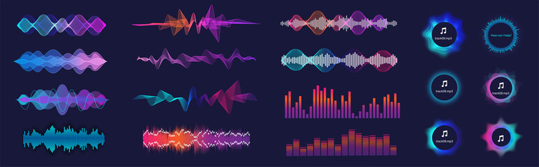 Sound waves equalizer collection in futuristic colors. Frequency audio waveform, music wave, circle bar, voice graph signal in HUD style. Set Audio waves.  Microphone voice and sound recognition.