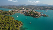 Aerial Drone Photo Of Famous Fjord Seaside Village And Bay Of Porto Heli In The Heart Of Argolida Prefecture, Peloponnese, Greece