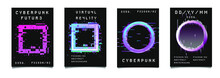 Cyberpunk And Vaporwave Style Posters For Music Party With Neon Geometric Shapes On Dark Background. Retrofuturistic Aesthetics Of 80's - 90's.