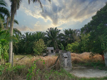 Awesome Sky Scene At Abandoned House Around The Dried Grassy Field