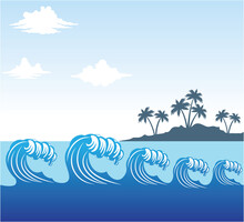 Rolling Blue Ocean Sea Wave Scene With Coconut Tree Island In Distance With Cloudy Sky Vector Background