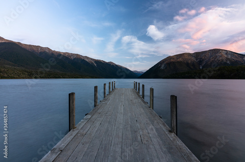 Sunset at they jetty at  Lake Rotoiti in Sant Arnaud in the South Island of New Canvas Print