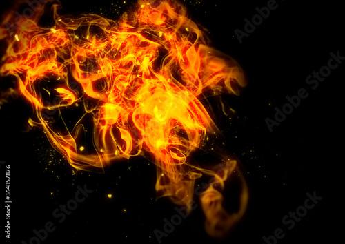 Valokuva 暗闇を照らす抽象的な炎のイラスト
