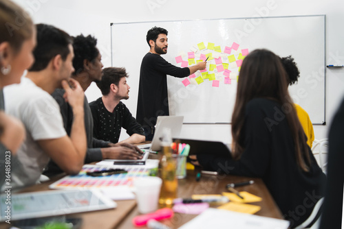 Manager leading a brainstorming meeting.