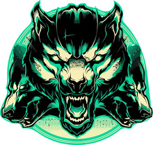 Angry Wolf Head Vector For Des...