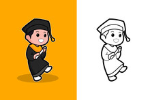 Graduation-themed Vector Graphic Illustrations, Perfect For Educational And Children's Themed Products, Such As Textbooks, Coloring Books, Key Chains, Stickers, Illustrations For Posters Etc.