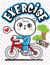 Cute Cat Riding Bicycle Cartoo...