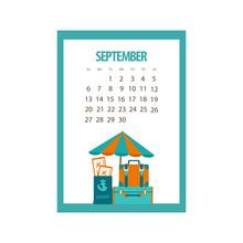 September 2020 Calendar, Autumn Month, Beach Umbrella And Retro Suitcases, Vector Illustration