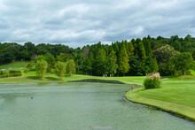青空いっぱいのゴルフコース、ボールが一直線に飛んで行く爽快なゴルフ