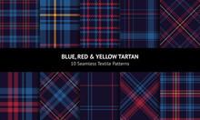 Tartan Plaid Set. Blue, Red, Y...