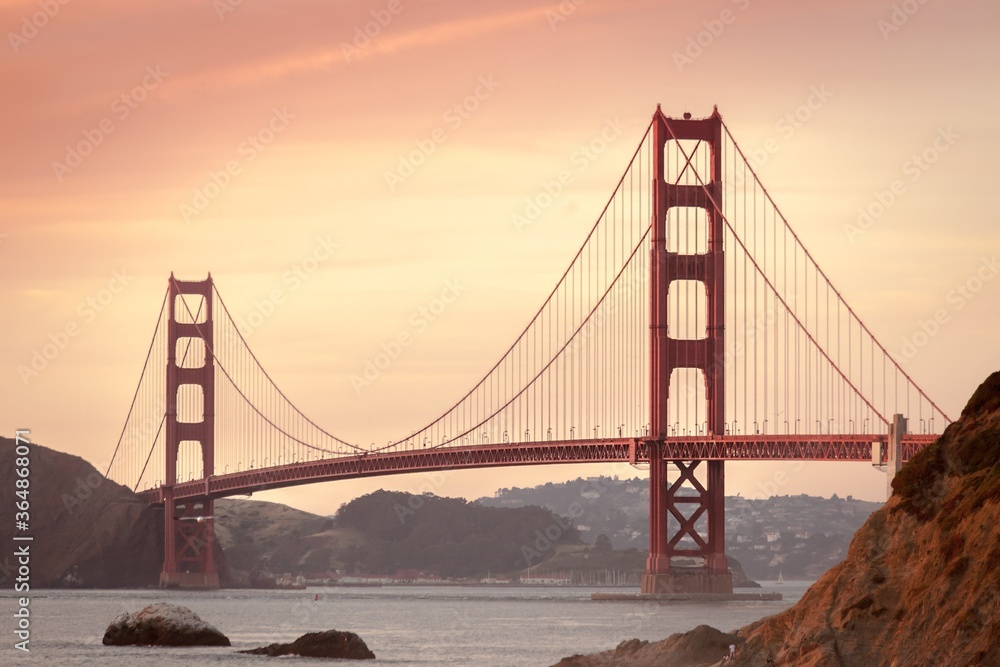 Fototapeta golden gate bridge at sunset