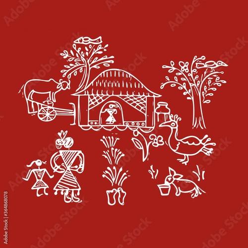 Rural Indian village art Fototapet
