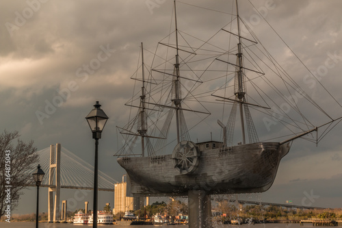 Wallpaper Mural Steamship Model With Paddle Wheel Boats Under The Talmadge Bridge,Savannah,Georg