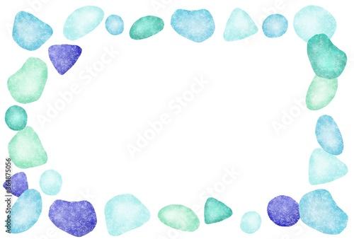 青色シーグラスの四角いフレーム Canvas