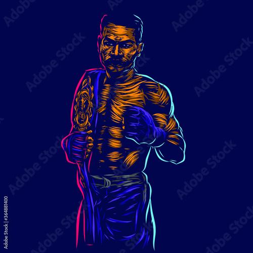 UFC Mixed martial artist fighter line pop art potrait logo colorful design with dark background Wallpaper Mural