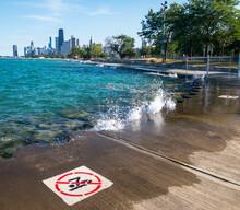 High Waves, No Swimming In Lake Michigan, Chicago, Illinois