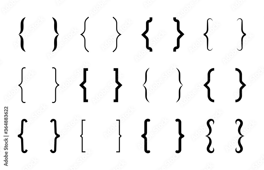 Fototapeta Various curly brackets flat icon set. Modern and vintage brace lines and symbols for typing or typography vector illustration collection. Ornament and design elements concept