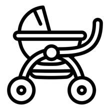 Girl Baby Pram Icon. Outline G...