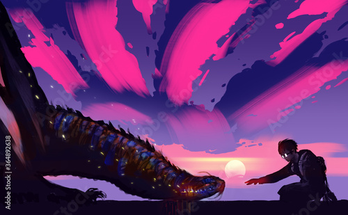 Fotografie, Obraz Digital illustration painting design style a boy trying touch dragon's head, against sunset