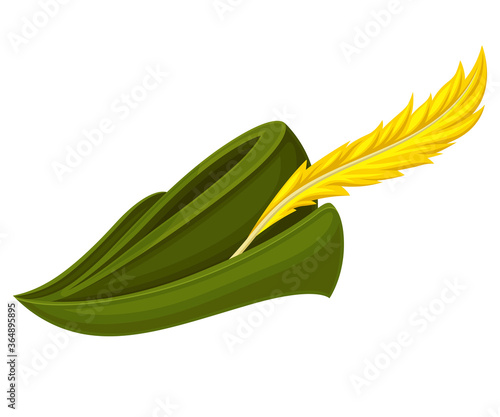 Obraz na płótnie Robin Hood Green Hat with Feather Isolated on White Background Vector Illustrati