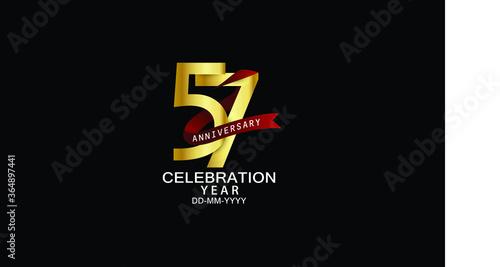 Valokuvatapetti 57 year anniversary red ribbon celebration logotype