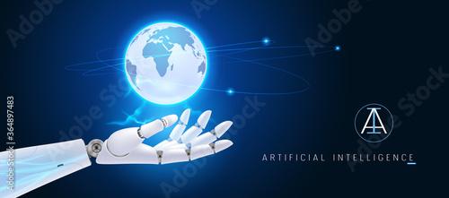 Obraz na plátně Artificial intelligence manages big data, global information vector background