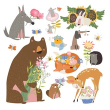 Cartoon Set With Cute Animals Holding Bouquet Of Flowers