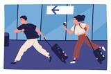 Scene of man and woman hurrying to flight at airport terminal vector flat illustration. Couple running carrying baggage or luggage. Happy rushing tourists going on summer vacation, journey or trip