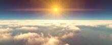 Fly Above Clouds Sunset Landsc...