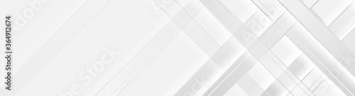 Fototapeta Grey and white smooth stripes technology banner design. Abstract geometric vector background obraz
