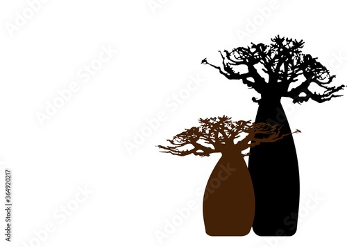 Fototapeta Boab or Baobab Tree background with copy space for your text, vector isolated, Andasonia tree silhouette icon