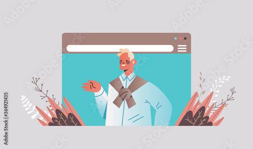 Fototapeta businessman making presentation during video call business man looking in camera online training web conference communication concept portrait horizontal vector illustration obraz