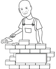 Man Working On Constructing A Wall Building Capability Of Doing Work