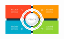 Infographic Template With A Circle And 4 Rectangular Elements. Diagram Or Chart With Four Options. Can Be Used For Business Presentation, Brochure, Web Design, Data Visualization.