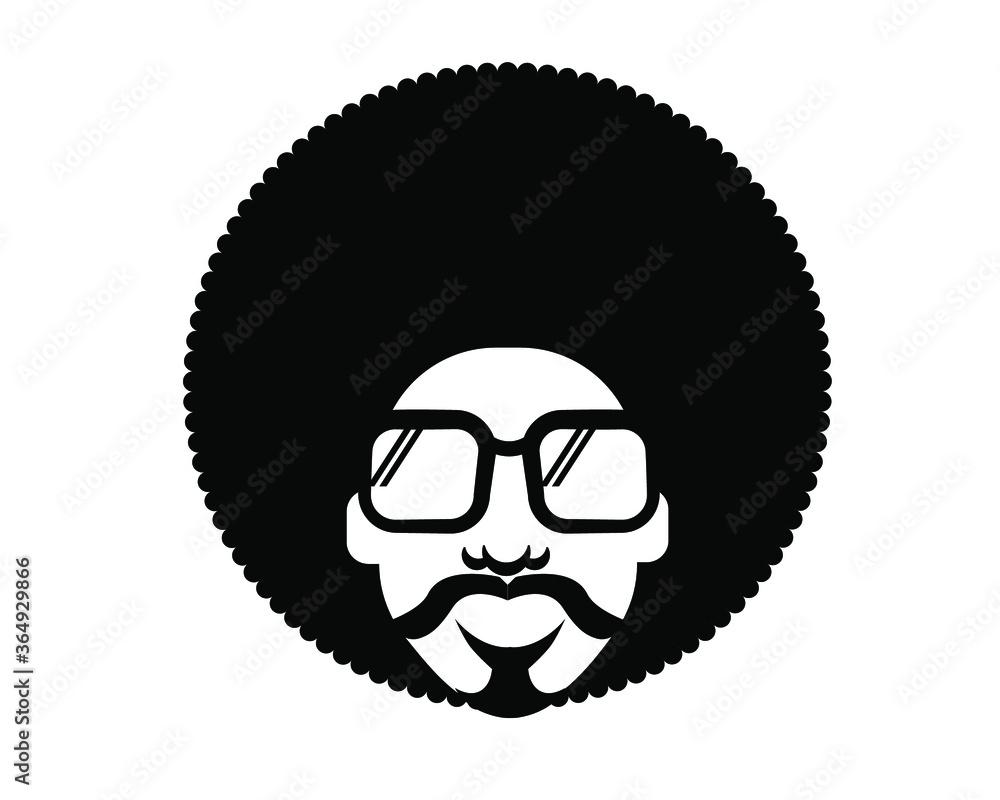 Fototapeta Retro Disco dance poster 70s. Vector bright color portrait man with retro sunglasses
