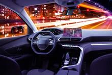 Car Cockpit Interior In Night ...