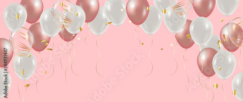 Valokuvatapetti Luxury Gold and pink foil balloons with confetti in white background vector