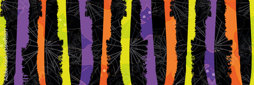 Fotografía Halloween grunge stripe and spiderweb vector seamless border