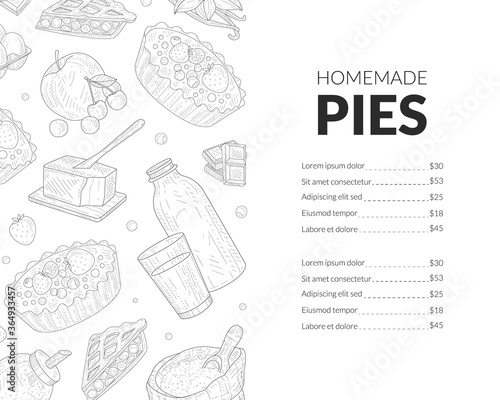 Homemade Pies Menu Template, Bakery and Pastry Shop, Restaurants and Cafes Menu Canvas-taulu